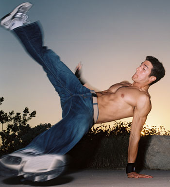 breakdancing flare shirtless
